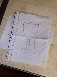 ontwerp wijnglas model op grootte