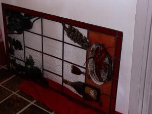 gebrandschilderd glas in loodraam gereed voor plaatsing