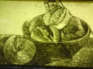 Detail broodjes, nu nog alleen maar in contouren en schaduw.