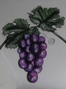 Detail druiven, Bourgondische ramen.