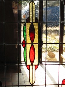 glas in lood motief in schuifdeur
