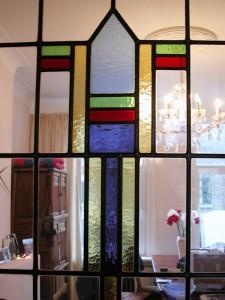 glas in lood schuifdeuren, ontwerp Veronica Huisintveld