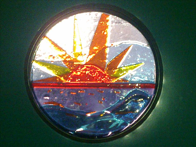 glaskunst fusing techniek, voordeurraam