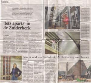 Glas in lood van Zuiderkerk Arnhemseweg weer hemels