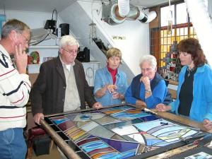 Glas in lood project, in opdracht en ontwerp van Gaby Bovelander voor t kerkje in Hoog Soeren.
