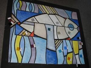 Glas in lood project, in opdracht en ontwerp van Gaby Bovelander voor t kerkje in Hoog Soeren. Hier de kleur bepaling met mond geblazen glas.