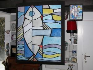 Glas in lood project, in opdracht en ontwerp van Gaby Bovelander voor t kerkje in Hoog Soeren. Patroon nog hangend in Gaby,s atelier.