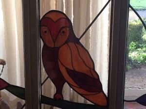 uil - Tiffany glas en brandschilderwerk