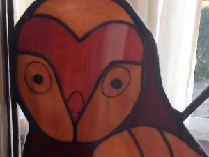 de wijze uil - Tiffany glas en brandschilderwerk