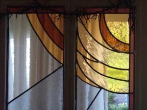 de zon in vijfluik uit mondgeblazen glas