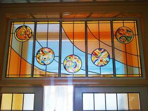 Mandala,s ontwerp van de klant, door mij uit gevoerd. Brandschilderen in glas in lood.