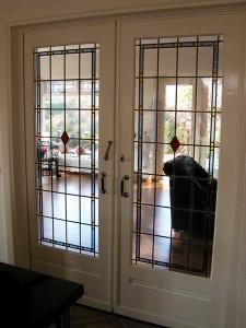 schuifdeuren glas in lood, ontwerp en plaatsen door Veronica Huisintveld