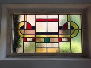 glas in lood - art deco - raam geplaatst, uitvoering naar bestaand model