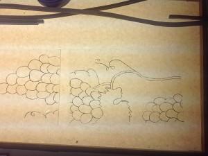 contouren opzetten, druiventrossen; het eerste begin