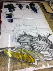 werk in uitvoering, brandschilderproces
