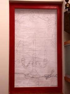 ontwerp Veronica voor het derde glas in lood raam met brandschilderwerk