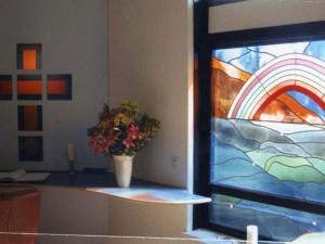 Deel van t glas in lood, stilte centrum Casa Bonita, met glas juwelen. Mond geblazen glas, eigen ontwerp Veronica