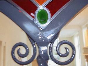 ijzeren frame; ontwerp Veronica, uitgevoerd door kleine smederij in Oene