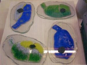 tropische vissen: glaskunst, glas fusing, met verf