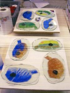tropische vissen: glaskunst, glas fusing met verf