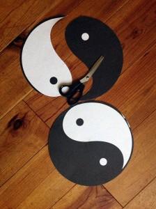 patronen yin-yang voorhang ramen, verwerken in lood
