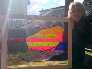 opkomst van de zon, combinatie glas fusing, brandschilderen en glas in lood